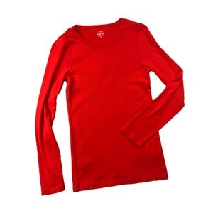 J. Crew Red Long Sleeve Slim Perfect Fit Tee M407
